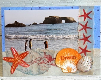 Ocean Rock Arch Photo Art Greeting Card with Shells and Starfish, Handmade Mixed Media Notecard, Blank Scrapbook Card, Any Occasion card