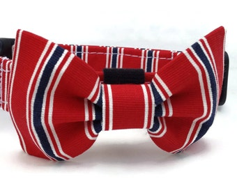 Red Patriotic Stripe Dog Bow Tie for Small to Large Dogs