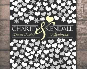 Fall Season ENGAGEMENT GIFT POSTER, Winter Wedding Snowflakes Guestbook, Winter Season Snowflakes Hearts, 114 Guests 20x24, Guest Book_06