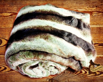 Gray Stripe Chinchilla Throw Blanket - Animal Friendly Faux Fur - Blanket - Bedspread - Soft As Mink - Rabbit - New Sizes