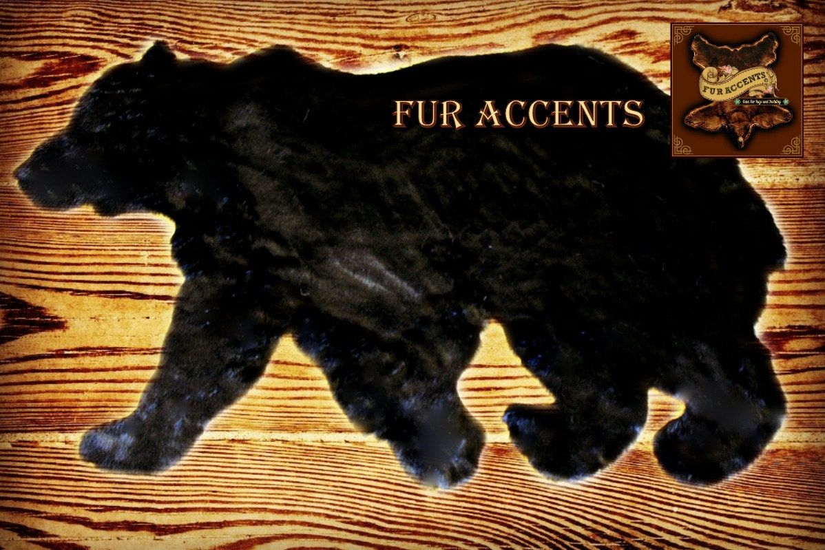 black bear skin accent rug faux fur walking by shannaleigh25. Black Bedroom Furniture Sets. Home Design Ideas