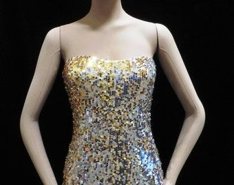 Gold Silver Sequin Strapless Bodycon Dress Vintage Fredericks of Hollywood Spandex Mini Bombshell Dress M