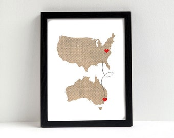 Two States Love Connection Map - Wedding Gift - Personalized State & Heart - Natural Series - Custom Location - Modern Art Print