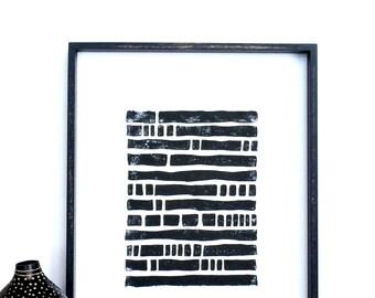 SALE - Linocut Print - Minimalist Bold Lines Poster 11 x 14 Block Print - 1-6014