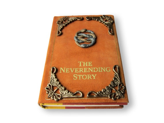 Handmade Story Book Cover : The neverending story book leather dust cover