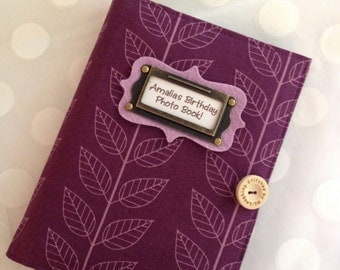 Photo Album Personalized Brag Book holds 48 Pictures - plum leaves fabric