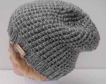 Hand knit gray hat, knit women's hat, light gray beanie, gray acrylic hat, knit beanie, gray hat knit, knit hat gray, gray acrylic beanie