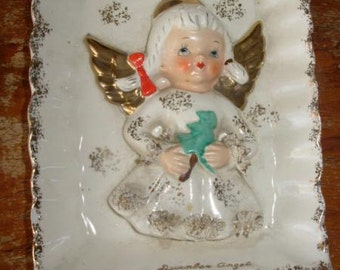 December Angel, ceramic plaque, Relco of Japan, 1950s angel plaque, Christmas figurine, Christmas angel, made in Japan