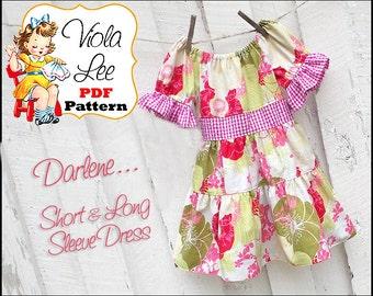 Darlene..Toddler Dress Pattern. Peasant Dress Pattern, Girl's Dress Pattern, Girl's Sewing Pattern. Long Sleeve Dress pdf  Pattern. Download