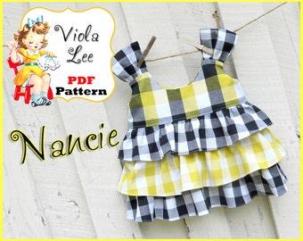 Nancie... Girl's Top Pattern,  Ruffle Top Pattern, cute with Ruffle Shorts or Ruffled Pants.Toddler Sewing Pattern. Girl's Sewing Pattern.