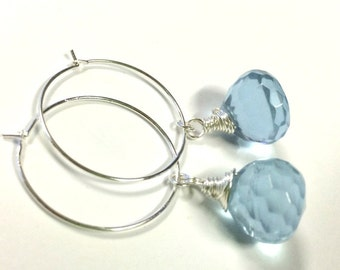 Light-Blue, Onion-Shaped Silver Hoop Earrings