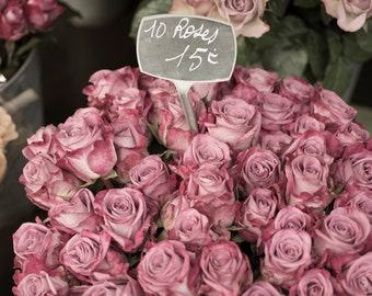 Paris Roses Photography - Faded Roses at a Paris Market, French Home Decor, Large Wall Art