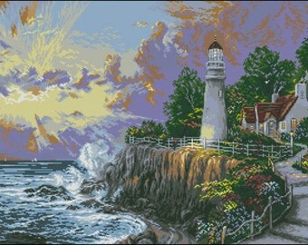 Instant Download Counted Cross Stitch Chart PDF Pattern N116ld - Sunset on a cliff