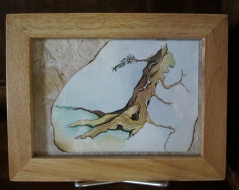 Watercolor tree stump with collage background Original watercolor framed art Free shipping in USA only