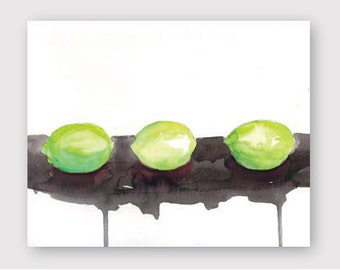 Line of Limes Watercolor Instant Download