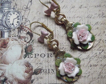 Porcelain Rose in Spoon with Bow Lever-back Brass Earrings