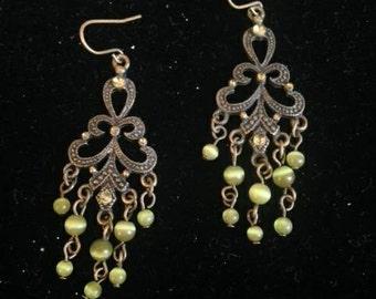 Brass & Green Chandelier Earrings