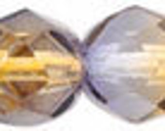 Dual Color - Cantaloupe/Grape Firepolished Czech Glass Beads - 6mm