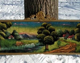 1930s Painting on Silk Velvet Huge Arrow Wood Frame COUNTRY Farm Scene PICKUP ONLY