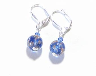 Venetian Glass Cobalt Blue Small Ball Earrings, Murano Glass Earrings, Italian Jewelry, leverback Earrings, Clip On Earrings
