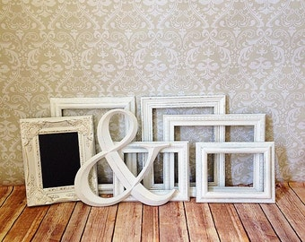 White PICTURE FRAMES - Ampersand - Shabby Chic Wedding - w/ glass N Backing