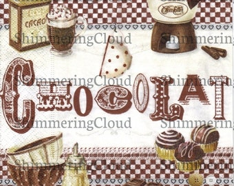 Decoupage napkins, pattiserie, chocolate, cacao, cup, writings, kitchen, vintage, retro, brown, white, paper, cup cake, Scrapbooking, 1 pc