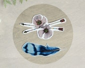 Temporary Tattoo Bluejay Feather and Wild Roses (Includes 2 Tattoos)
