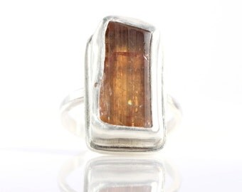 Raw Imperial Topaz Crystal Ring