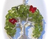 Artisan Sterling & Fine Silver Peridot Tree of Life with Siam  Swarovski Crystal Butterflies