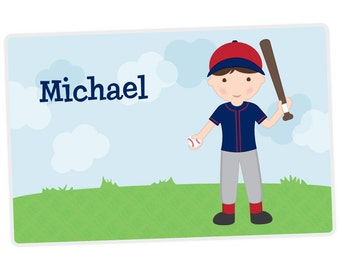 Baseball Player Placemat - Personalized Placemat for Boy - Childrens Placemat - Baseball Placemat - Set The Table - Laminated