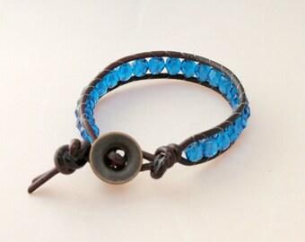 Cyber Monday - wrap bracelet - beaded wrap - single wrap bracelet - czech glass beaded wrap - free shipping - cornflower blue glass beads