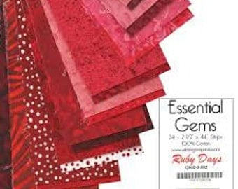 Essential Gems, Ruby Days by Willington Prints, Pre Cut Strips