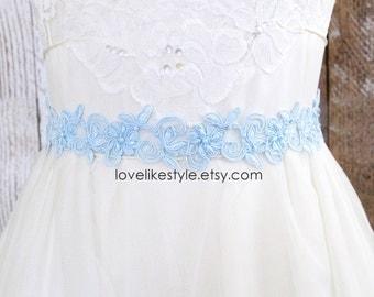 Light Blue Pearl Beaded Flower Lace Sash, Bridal Sash, Bridesmaid Sash, Flower Girl Sash,Blue Headband, Something Blue