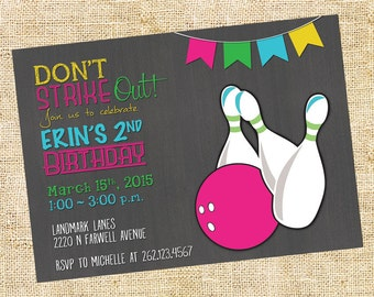 Don't Strike Out! Bowling Party Invitation