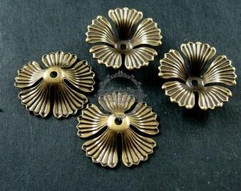 10pcs 16mm vintage style brass bronze antiqued flower beads cap DIY beading jewelry supplies 1561007