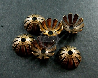 50pcs 13mm vintage style brass bronze antiqued flower beads cap DIY beading jewelry supplies 1561010