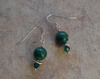 Emerald Green Malachite & Swarovski Crystal Earrings on Sterling Silver Earwires
