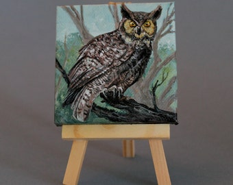 "Owl Art Original 3""X3"" Painting  ""Great Horned Owl"""