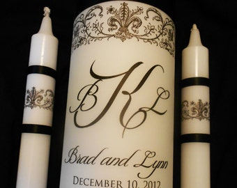 "Custom Unity Candle ""Wraps"", Monogrammed and Created in Your Wedding Colors, by No. 9"