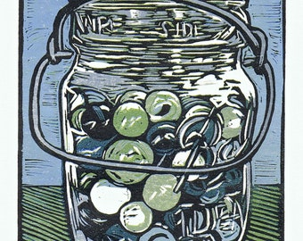 Ball Jar with Marbles Block Print