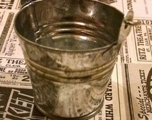 Miniature Silver Bucket - Pail / Tiny Little Container / Dollhouse Supplies / Crafts / Gardening miniatures / altered art / mixed media