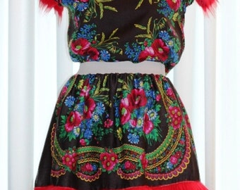 CLEARANCE Black flower dress, Folk flower dress, Russian print flower dress