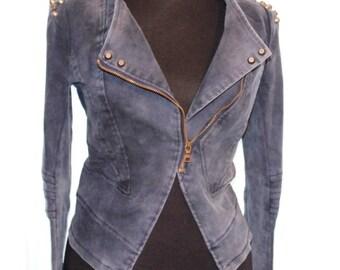 CLEARANCE Jacket , vintage navy denim jacket,  Studded denim biker jacket , Rock and Roll jacket