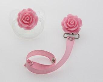 Pink Flower Pacifier Clip (RFLP)