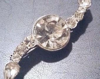 """Art Deco Rhinestone Brooch Pin Unique Circle & Arrows Silver Metal 2.5"""" Vintage"""