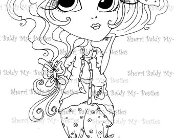 INSTANT DOWNLOAD Digital Digi Stamps Big Eye Big Head Dolls Digi IMG4572 Bestie Tudes By Sherri Baldy