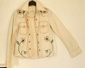 Vintage jeans jacket blouse 70 ies with flower power design Folky