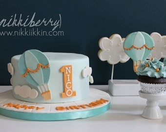 Hot Air Balloon Fondant Cake Set Decoration