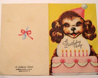 Vintage birthday invitataion card  1950s by Gibson