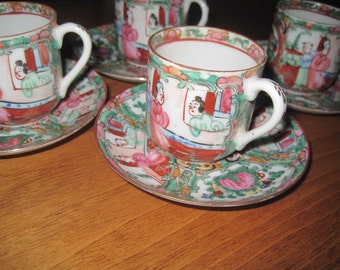Vintage Set of 4 Demi Cups and Saucers -  China - Hand Painted